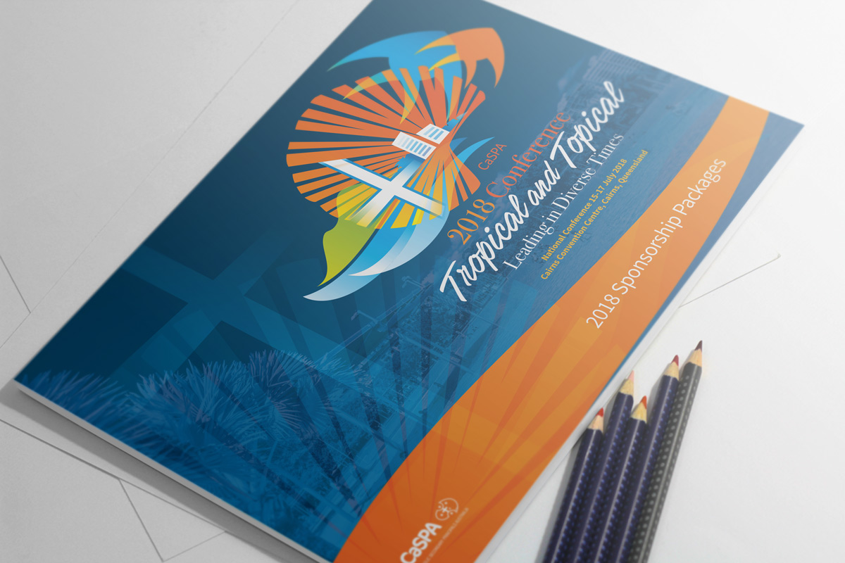 Logo and cover design for the 2018 conference. The brief was to reflect the tropical conference theme and location.