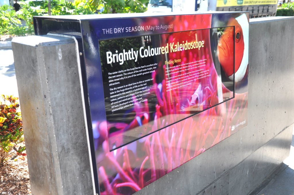 One of eight interpretive panels, set into cast concrete seating and illuminated at night, portraying the history of the street and natural history of the region