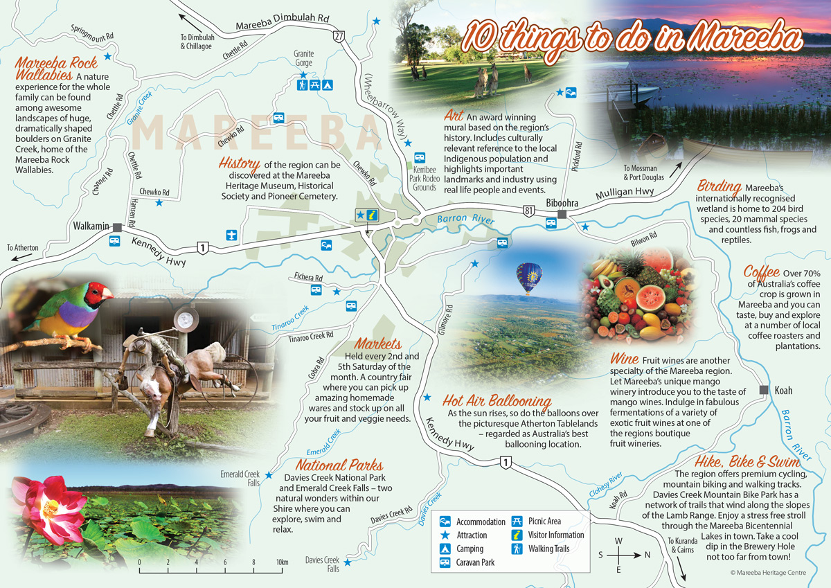 Double sided A4 tourist maps for Mareeba Heritage Centre