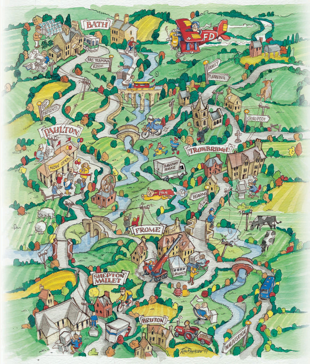 Bath and North East Somerset illustrated map commissioned by local Health Trust.