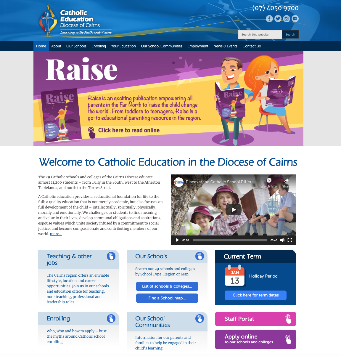 Catholic Education Diocese of Cairns website homepage