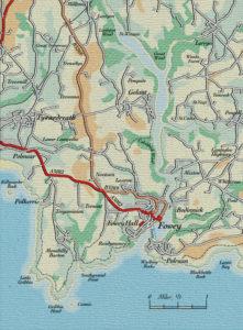 Map of Fowey, Cornwall, UK