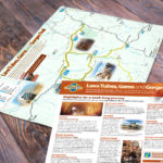 A3 sized tourist route map for outback Queensland, incorporating useful information